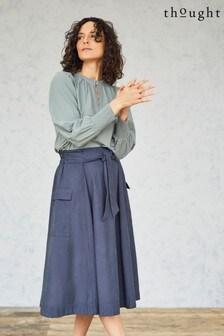 Thought Blue Niamh Paperbag Waist A-Line Skirt