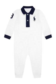 Baby Boys White Cotton Polo Coverall