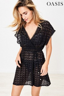 Oasis Black Crochet Look Wrap Kaftan