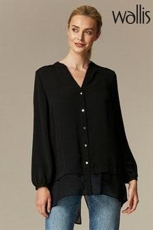 Wallis Black Longline Shirt