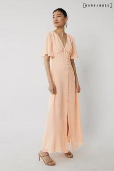 Warehouse Pink Angel Sleeve Bridesmaid Dress