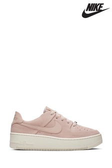 Nike Pink/White Air Force 1 Sage Trainers