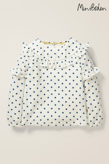 Boden Neutral Frill Detail Woven Top