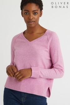 Oliver Bonas Pink Marl V-Neck Knitted Jumper