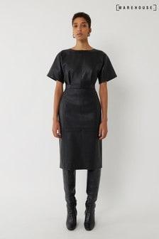 שמלת מידי מעור מלאכותי של Warehouse