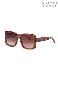 Oliver Bonas Brown Dublin Square Tortoiseshell Effect Sunglasses