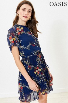 Oasis Blue Floral Pleat Skater Dress