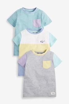 3 Pack Colourblock T-Shirts (3mths-7yrs)