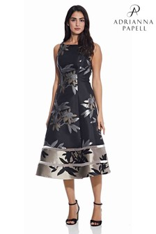 Adrianna Papell Black Short Jacquard Dress
