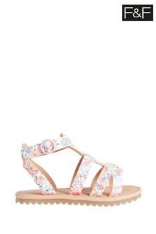 F&F Multi Younger Girl Floral Gladiator Sandals