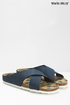 White Stuff Navy Crossover Printed Footbed Sandals