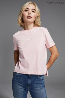 Calvin Klein Jeans Pink Small Institutional Logo T-Shirt