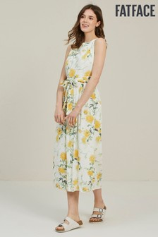 FatFace Natural Laurie Painted Meadow Midi Dress