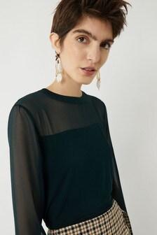 Warehouse Green Sheer Sleeve Woven Mix Top