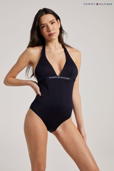 Tommy Hilfiger Blue Core Solid One Piece Halter Neck Swimsuit