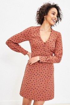 Oasis Natural Spot Shift Dress