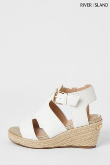 River Island White Croc Strappy Wedge Sandals