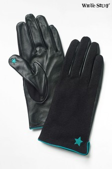 White Stuff Black Lucy Leather Gloves