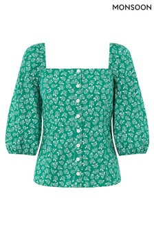 Monsoon Green Roxie Rose Print Organic Cotton Top