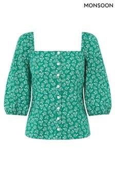Monsoon Green Roxie Rose Print Organic Cotton Top