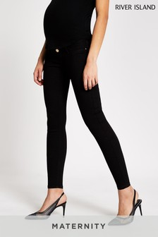 River Island Black Molly Maternity Overbump Jeans