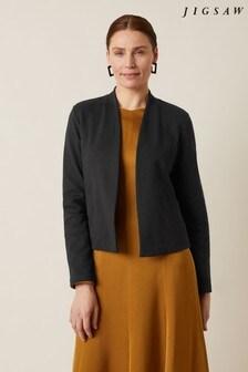 Jigsaw Black Textured Jersey Jacket