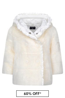 Baby Girls White Faux Fur Padded Coat