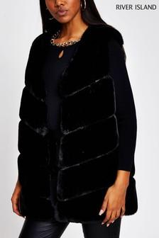River Island Black Panelled Fur Gilet