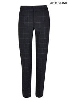 River Island Navy Scratchy Check Trousers