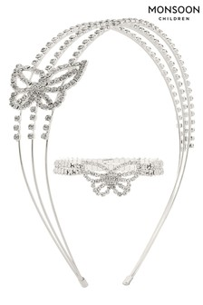 Monsoon Silver Diamanté Butterfly Headband