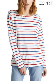 Esprit Natural Contrast Strip Long Sleeve T-Shirt
