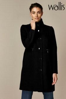 Wallis Black Faux Wool Zip Pocket Coat