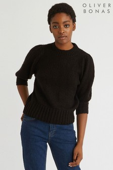 Oliver Bonas Gathered Black Short Sleeve Jumper