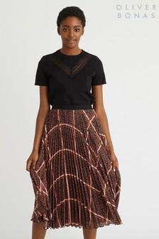 Oliver Bonas Chocolate Check Pleated Midi Skirt