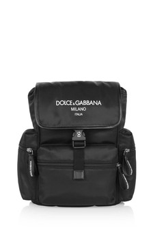 Boys Black Nylon Logo Backpack