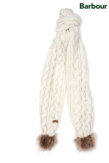 Barbour® White Cable Knit Faux Fur Pom Scarf