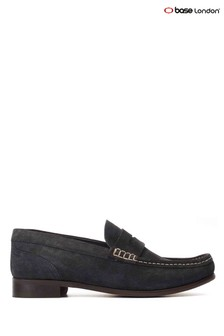 Base London® Blue Cassio Suede Slip-On Loafers