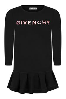Girls Black Cotton Logo Dress
