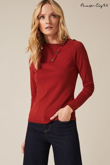 Phase Eight Spice Rachele Button Neck Knit Jumper