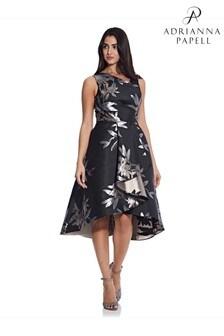 Adrianna Papell Black Short Jacquard Dress