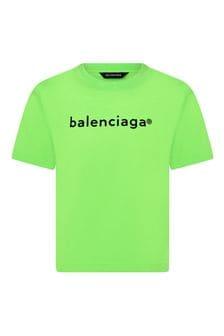 Balenciaga Kids Kids Green Cotton T-Shirt