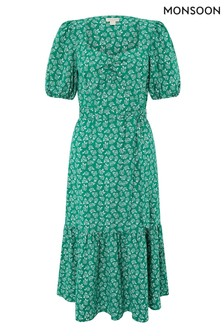 Monsoon Green Roxie Rose Print Organic Cotton Dress