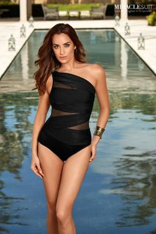 Miraclesuit® Black Jena One Shoulder Swimsuit