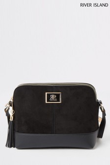 River Island Black Double Comp Enamel Boarding Bag