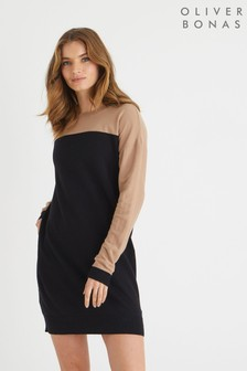 Oliver Bonas Black Colourblock Knitted Jumper Dress