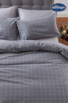 Silentnight Grey Brushed Cotton Check Duvet Cover and Pillowcase Set