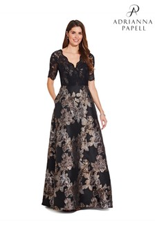 Adrianna Papell Black Metallic Jacquard Gown