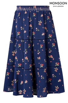 Monsoon Navy Maida Ditsy Midi Skirt