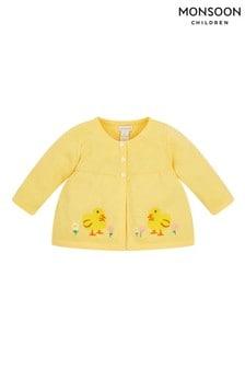 Monsoon Yellow Newborn Embroidered Chick Cardigan
