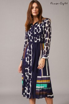 Phase Eight Blue Tanjina Smudge Spot Pleat Dress